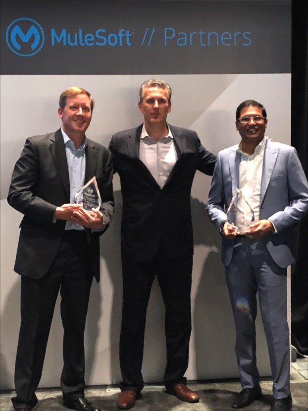 At MuleSoft Connect 2018, from left to right: photo are from left to right: Edward Davies, Sales Director, WHISHWORKS Brent Hayward, Senior Vice President of Global Channels and Alliances, MuleSoft Suman Konkumalla, Chief Strategy Officer, WHISHWORKS (PRNewsfoto/WHISHWORKS)