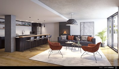 Le Fonds immobilier de solidarité FTQ et Cogir Immobilier s'unissent pour la construction du nouveau projet résidentiel locatif UniCité situé sur la rue Molson, dans l'arrondissement Rosemont–La Petite-Patrie à Montréal. (Groupe CNW/Cogir Immobilier)