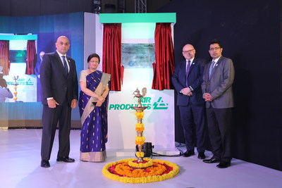 (From left to right) Air Products' Dr. Samir Serhan, Executive Vice President; the Honorable Mayor of Pune Srimati Mukta Tilak; Richard Boocock, President, Industrial Gases – Middle East, India, Egypt and Turkey at Air Products; and Sadhan Banerjee, Managing Director, Air Products India all participated in a ceremonial 'Lighting of the Lamp' ceremony and unveiling of an official plaque in Pune, India today for Air Products' new world-class engineering center.