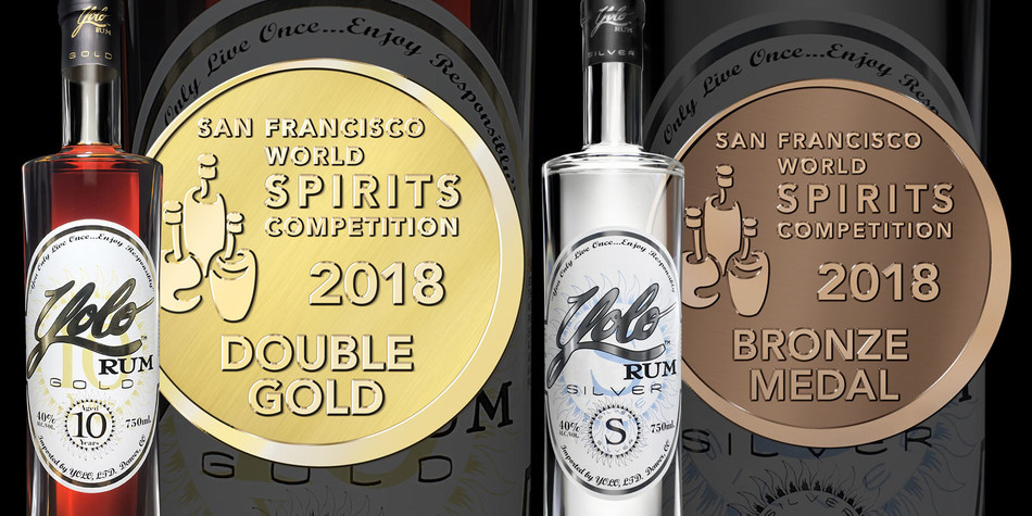 Yolo Rum Gold Wins Double Gold Medal and Yolo Rum Silver Wins Bronze Medal at the 2018 San Francisco World Spirits Competition