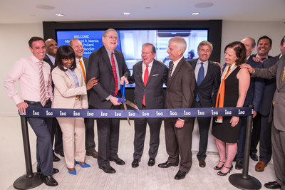 Michael P. Connors (center), chairman and CEO of Information Services Group (ISG), is shown with Stamford Mayor David R. Martin (holding scissors) as they are about to cut the ribbon to mark the official opening of ISG's new global headquarters at 2187 Atlantic Street in Stamford, Connecticut, on May 9, 2018. Local officials and members of the ISG Executive Board join with Connors and Martin in the celebration. ISG's new state-of-the art facility in the Harbor Point area of Stamford is a digital showcase for the Workplace of the Future. ISG is a leading global technology research and advisory firm and a trusted business partner to more than 700 clients, including 75 of the top 100 enterprises in the world.