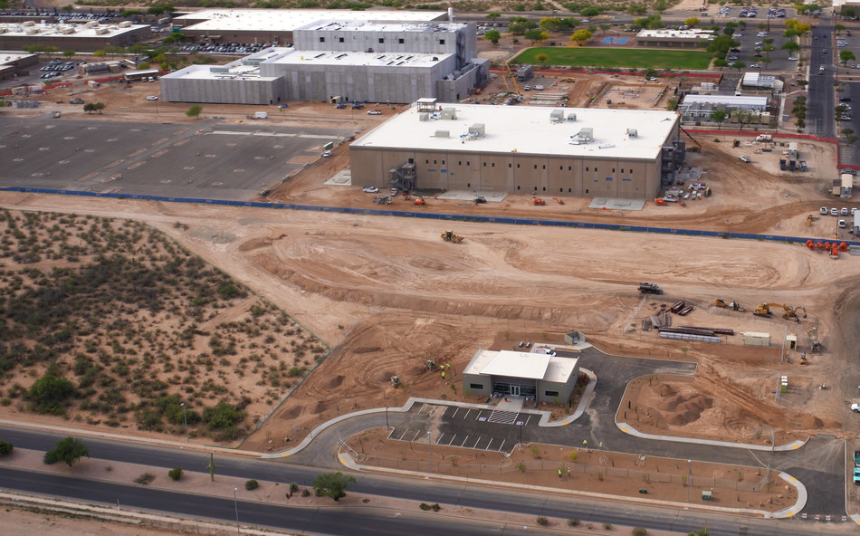 Aerial view of new construction at the Raytheon Missile Systems Tucson, Arizona, plant site