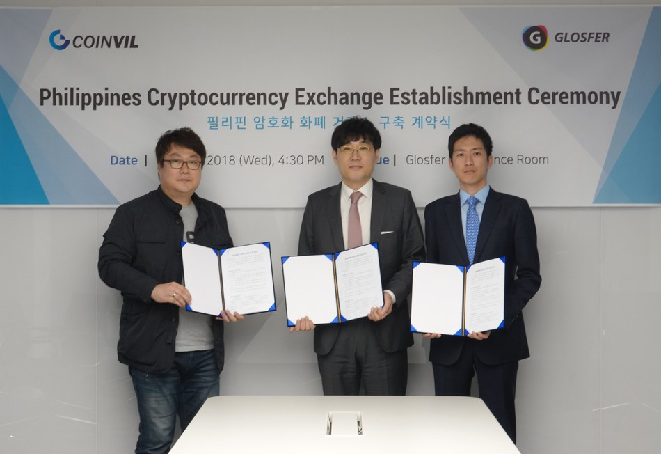 Philippines Cryptocurrency Exchange Establishment Ceremony (From left to right, Kim Byungcheol, VP of GLOSFER; Park Rae-hyun, CEO of COINVIL; Chang Joonhyuk, Executive of COINVIL)