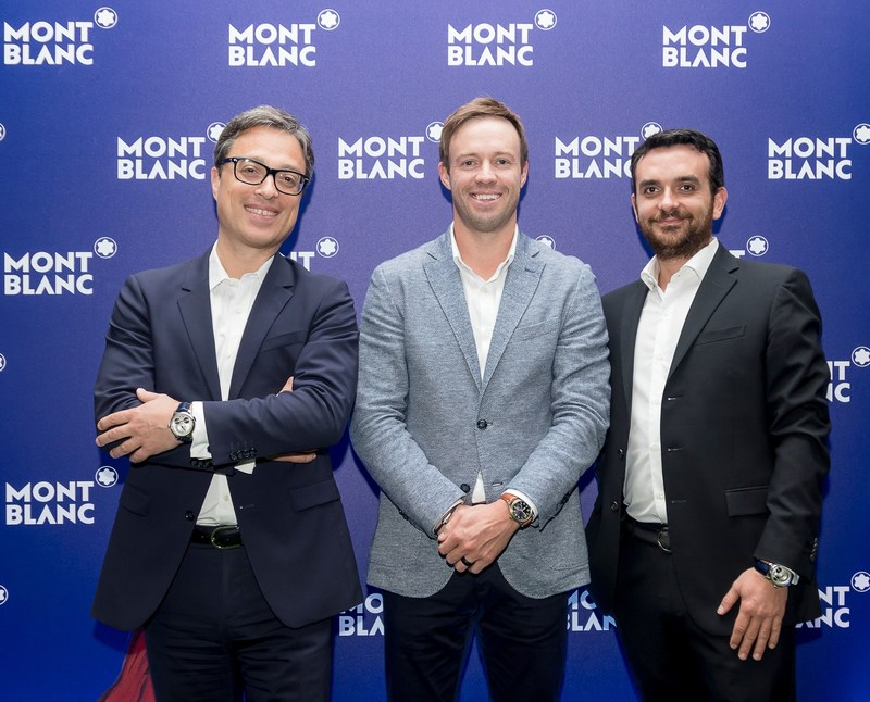 Mr. Nicolas Baretzki - Chief Executive Officer of Montblanc, AB de Villiers and Franck Juhel - President of Montblanc Middle East, India and Africa (PRNewsfoto/Montblanc)