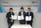 Cérémonie d'inauguration de la plateforme d'échange de cryptomonnaies aux Philippines (de gauche à droite : Kim Byungcheol, vice-président de GLOSFER ; Park Rae-hyun, PDG de COINVIL ; Chang Joonhyuk, directeur de COINVIL) (PRNewsfoto/GLOSFER)