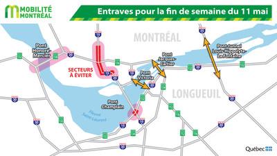 Entraves pour la fin de semaine du 11 mai (Groupe CNW/Ministère des Transports, de la Mobilité durable et de l'Électrification des transports)