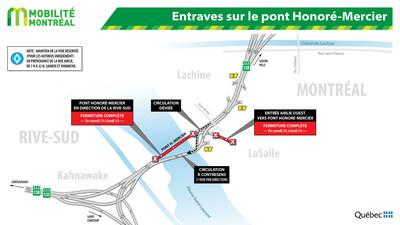 Entraves sur le pont Honoré-Mercier (Groupe CNW/Ministère des Transports, de la Mobilité durable et de l'Électrification des transports)