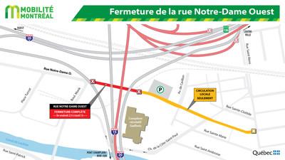 Fermeture de la rue Notre-Dame Ouest (Groupe CNW/Ministère des Transports, de la Mobilité durable et de l'Électrification des transports)