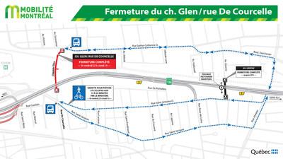Fermeture du ch. Glen/rue De Courcelle (Groupe CNW/Ministère des Transports, de la Mobilité durable et de l'Électrification des transports)