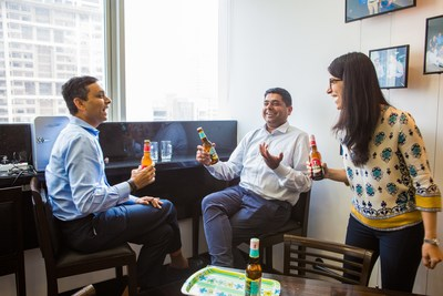 Bira 91 CEO Ankur Jain (center) at the Sequoia India office alongside members of their board, Abhay Pandey (left), and Sakshi Chopra (right)