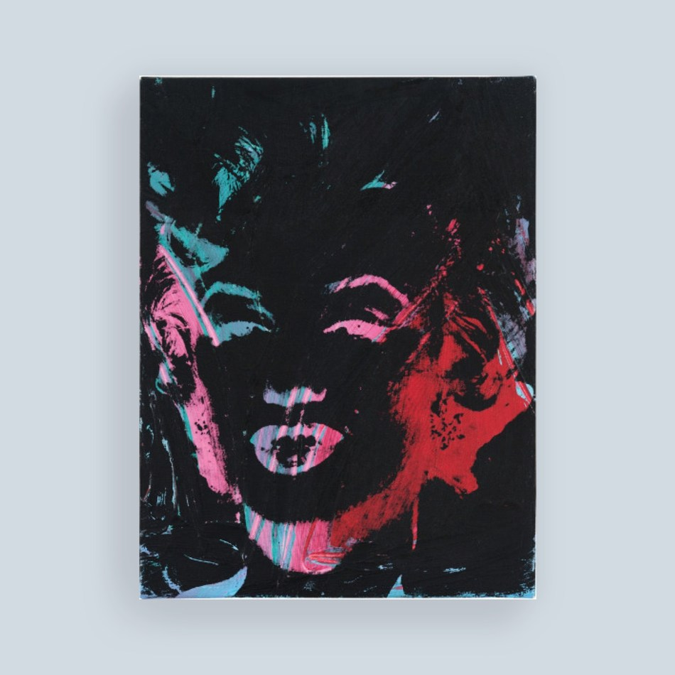 Andy Warhol, 1 Colored Marilyn (reversal series), 1979, oil and silkscreen inks on canvas, 18 1/4 x 13 3/4 in. (46.4 x 34.9 cm)