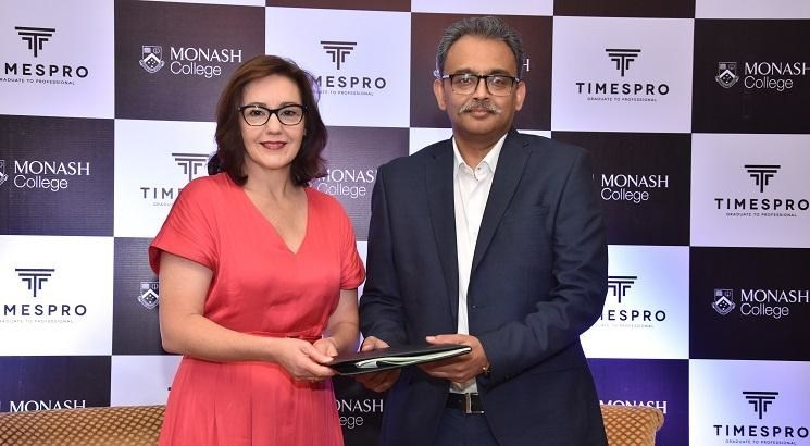 L-R , Jo Mithen, Board Member and CEO, Monash College Pty Ltd and Anish Srikrishna, President - Times Professional Learning sign MoU (PRNewsfoto/Times Professional Learning)