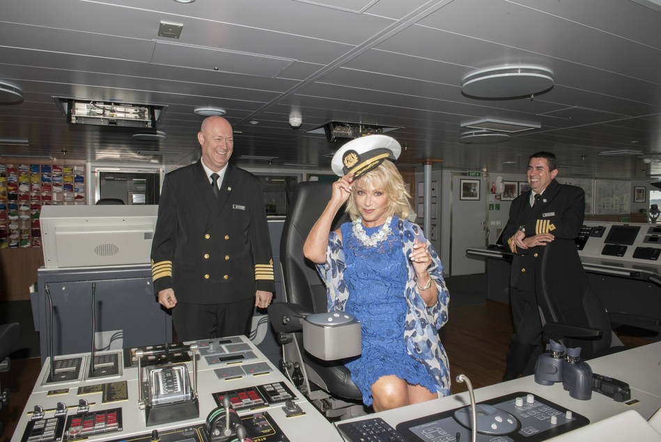 Seabourn Ovation godmother Elaine Paige gets a special bridge tour from the ship's Captain, Stig Betten (left), and Staff Captain, Stefan Tsvetkov. Ovation was christened in front of Seabourn guests in Valletta, Malta today during a ceremony held on the ship during its inaugural voyage, which departed Venice, Italy on May 5.