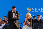 """Seabourn Ovation is formally christened by award-winning actress and singer, Elaine Paige, during the ship's naming ceremony in Valletta, Malta today. The event also featured the world debut of the Seabourn Anthem, """"We Sail to See the Lives of Others"""", which was written by acclaimed lyricist Sir Tim Rice."""