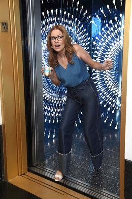 "Actress and author Jenna Fischer teamed up with Blue Bunny to take over an elevator to New York City's iconic Top of the Rock and get riders to say ""yes"" to fun and ice cream. Photo credit: Michael Simon for Blue Bunny"