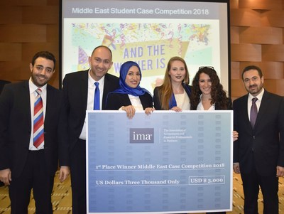 NOT JUST NUMBER CRUNCHERS. The student team from American University of Science and Technology won first place at the IMA Middle East Student Case Competition 2018. With them are the team's mentor, Dr. Robert Gharios, CMA, FRM, PCM; and Dr. Antoine B. Awad, CMA, from the faculty of Business and Economics at American University of Science and Technology in Lebanon (PRNewsfoto/IMA)