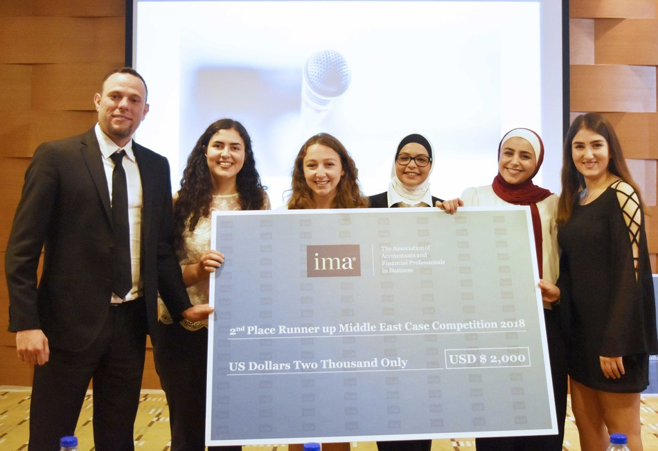 FUTURE WOMEN IN FINANCE.  The all-ladies team of German Jordanian University students emerged as the second place winner at the IMA Middle East Student Case Competition 2018. Appearing with them is team mentor, Luai Aburajab, CMA, MBA, Instructor in International Accounting Department at German Jordanian University. (PRNewsfoto/IMA)