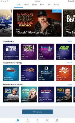 """ForYou"" recommendations pull from SiriusXM's huge catalogue of live and On Demand programming to make the next great piece of music, talk, news, entertainment or sports programming easier to learn about and access. (Tablet view)"
