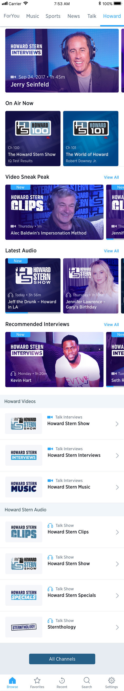 SiriusXM's library of recorded On Demand content features more than 5,000 hours of programming, and the new SiriusXM app makes it much easier to access shows, interviews, specials, and performances whenever it is most convenient for you. (Phone, scrolling view)