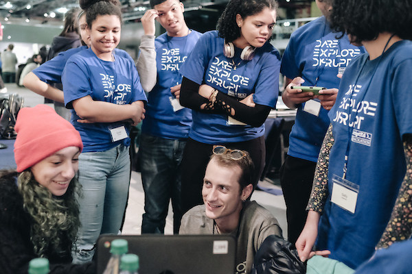 To address the need to fill the technology industry with more diverse talent, ScriptEd equips students in under-resourced schools with coding skills and internship experiences in technology, including through an annual hackathon competition, shown here.