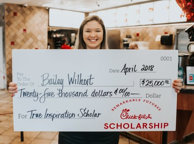 "Through Chick-fil-A's ""Remarkable Futures"" initiative, Team Members can earn scholarships in the amount of $2,500 or $25,000."