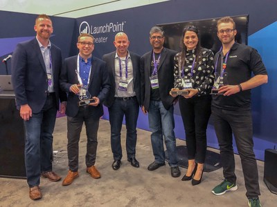 From left: Weston Comfort, PFL; Alex Young, PFL; Shai Alfandary, Marketo; Atul Kumar, Mintigo; Chia Brewin, Trunomi; Isaac Smith, Allocadia. (PRNewsfoto/Marketo, Inc.)