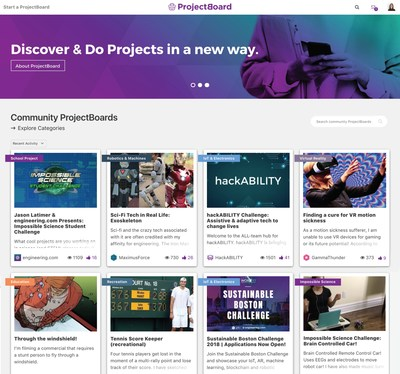Fig.1: ProjectBoard's Homepage. A great place to explore, discover and contribute to projects by the community. (CNW Group/engineering.com)
