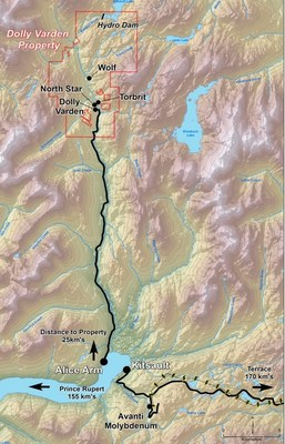 Map of Access Routes to Dolly Varden Property (CNW Group/Dolly Varden Silver Corp.)