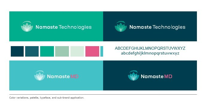 Color variations, palette, typeface, and sub-brand application. (CNW Group/Namaste Technologies Inc.)