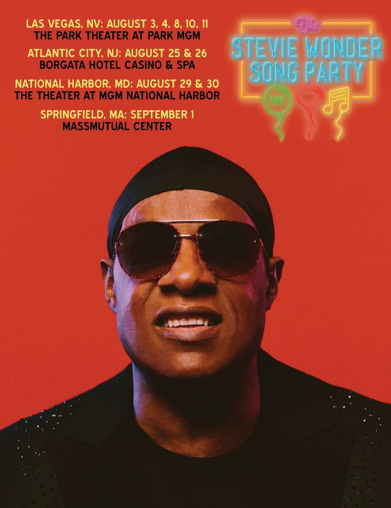 """LOS ANGELES (May 15, 2018) – Singer, songwriter, musician and producer Stevie Wonder announces """"The Stevie Wonder Song Party: A Celebration of Life, Love & Music,"""" a limited engagement concert series taking place this summer in four cities including Las Vegas, Atlantic City, National Harbor and Springfield, Mass."""