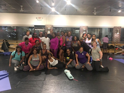 Yoga instructors encouraged injured veterans and their family members to increase their metabolisms, gain strength, and increase flexibility through a Wounded Warrior Project® (WWP) ladies-only yoga dance class.