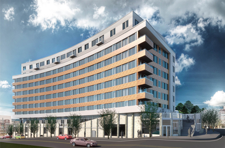 Rendering of Mixed-Use Building to Be Constructed at the Site of the Former Fairmount Hospital in Jersey City.