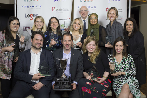 The team from Weber Shandwick celebrate a successful night at the 2018 ACE Awards Gala, including winning the award for Best Creative PR Campaign of the Year for their work on behalf of McDonald's Canada: the McDonald's Canada for Happy Meal Book or Toy Launch campaign. (CNW Group/Canadian Public Relations Society)