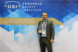 Josh Olds with his AUVSI XCELLENCE Award.