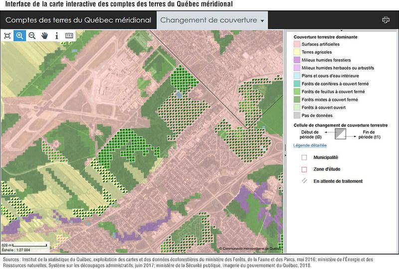 Interface de la carte interactive des comptes des terres du Québec méridional (Groupe CNW/Institut de la statistique du Québec)