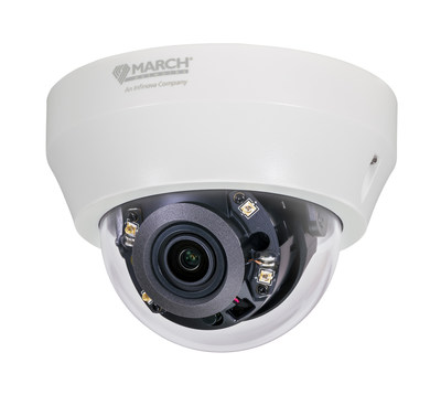 The SE2 Series Indoor IR Dome is one of three SE2 Series models available in March Networks' newest IP camera line. The cameras deliver 1080p video and a comprehensive range of advanced features for indoor and outdoor applications. (CNW Group/MARCH NETWORKS CORPORATION)