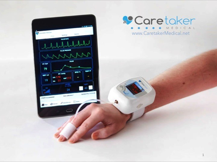 The Caretaker Wireless Vital Signs Monitor with Continuous Non-Invasive Blood Pressure and Mobile App