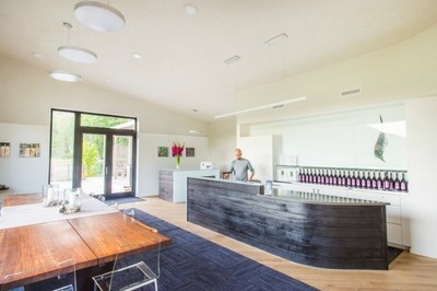 Built entirely of materials containing no toxic chemicals, the tasting room at Cowhorn Vineyard & Garden has superior indoor air quality and a warm, comfortable feel year-round.