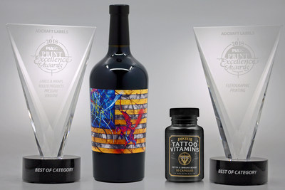 "Adcraft Labels wins two Best of Category awards in the 2018 ""Print Excellence"" competition held by the Printing Industries Association, Inc. of Southern California. Adcraft earned the ""Labels & Wraps-Rolled Products or Pressure-Sensitive"" award for the 1849 Wine Company ""Triumph"" wine label and the ""Flexographic Printing"" award for the Ink-Eeze ""Tattoo Vitamins"" label."
