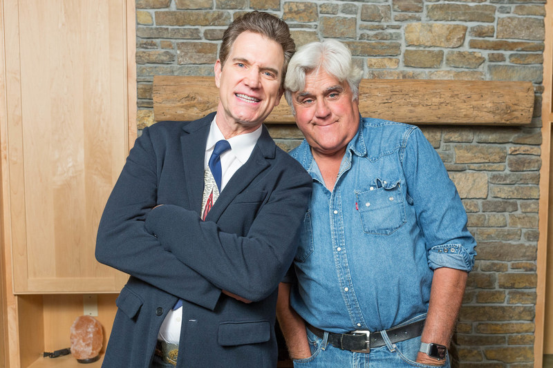 Jay Leno, Master of Ceremonies for the Bay Area Lyme Foundation's LymeAid 2018, is joined by Chris Isaak who performed at the event. Bay Area Lyme Foundation's LymeAid brings together patients, philanthropists, leading national Lyme disease researchers and clinicians to raise funds to make Lyme disease easy to diagnose and simple to cure.  Photo credit: Drew Altizer.