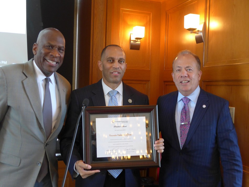 At The Brooklyn Hospital Center's Community, Corporate and Legislative Luncheon: Leroy Charles, TBHC's Vice President of External Affairs; Hakeem Jeffries, US Congressman, 8th Congressional District; and Gary G. Terrinoni, TBHC's President and CEO. Credit: Bernard Drayton