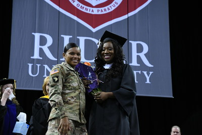 Thousands of friends, family, faculty and staff at Rider University's commencement ceremony witnessed a special surprise reunion between when graduate Tyshae Smith was surprised by her sister Shamera Smith who returned home after being deployed in Iraq for the past 10 months.