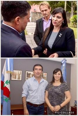 El Gobernador de la Rioja Sergio Casas y el Ministro de Infraestructura Juan Velardez, reciben en la provincia a la Directora de la Cámara de Comercio Argentina Americana de Florida Lic. Nancy Clara (PRNewsfoto/www.nancyclara.com)