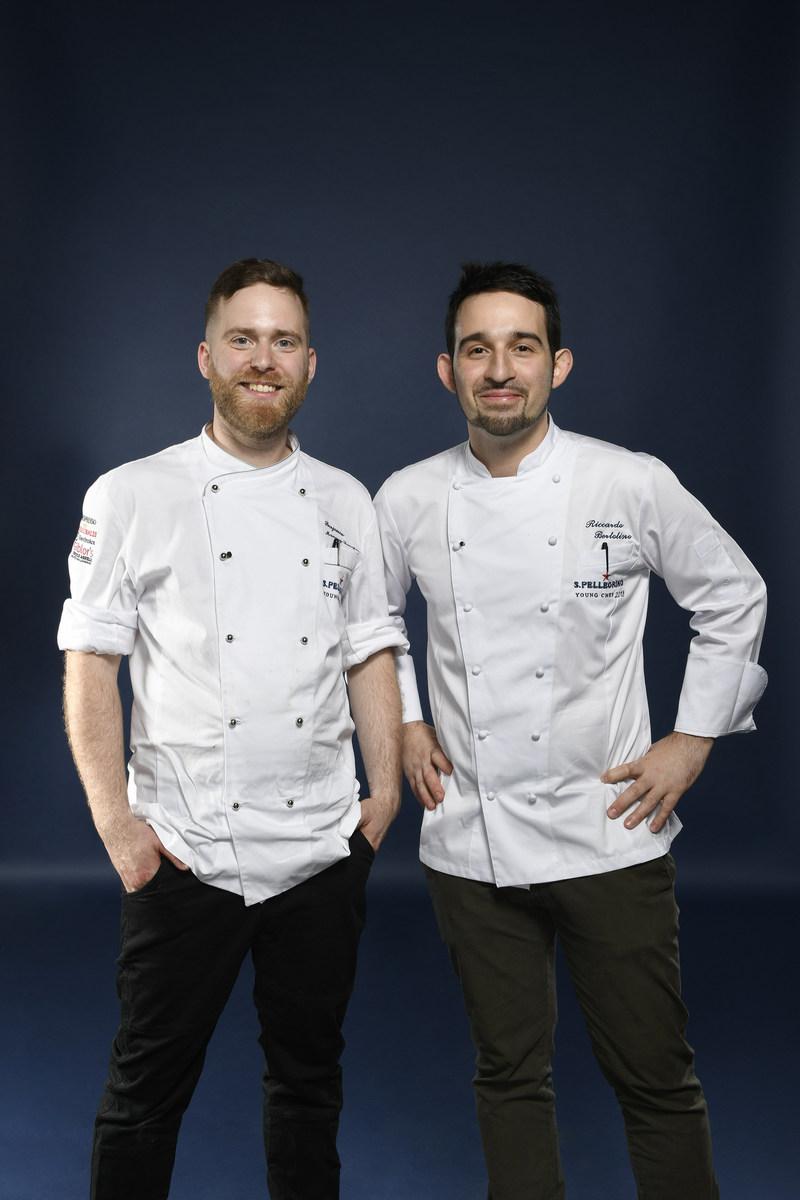 Canadian representative and Canada's semi-finalist winner, Benjamin Mauroy-Langlais with his mentor chef, Riccardo Bertolino (CNW Group/S. Pellegrino)