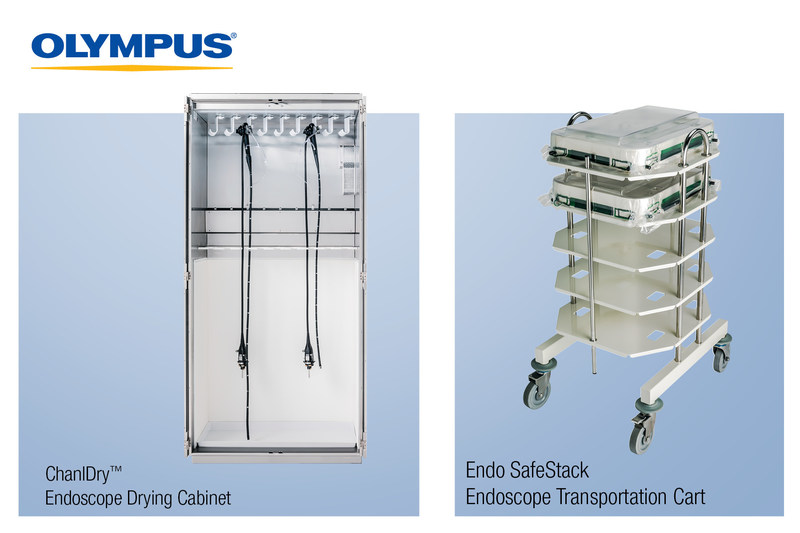 Olympus expands its endoscope reprocessing portfolio. ChanlDry is designed in keeping with research that shows that disinfected scopes stored in drying cabinets are less likely to develop bacterial contamination. Endo SafeStack transport carts help protect scopes from jostling during transport and allow for single-glance differentiation between clean and dirty scopes. The Visual Reprocessing Guide provides video support for the multiple steps required to clean the scope.