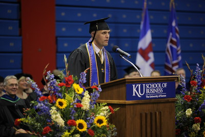 Sam Diehl addresses his School of Business graduating class during the graduation recognition ceremony on May 11 at Allen Fieldhouse in Lawrence, Kansas.