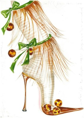 Sketch by Manolo Blahnik, Carmencita, 2002 Collection. (CNW Group/Bata Shoe Museum)