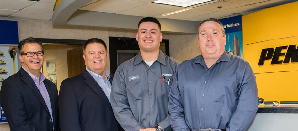 Pictured from left to right are Penske Truck Leasing associates  Gregg Mangione, senior vice president of maintenance; Tony Popple, senior director of maintenance; David Barba, technician; John Marvin, district manager