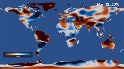 This February 2016 global map of freshwater stored on land, made using data from NASA's Gravity Recovery and Climate Experiment (GRACE) mission, shows where freshwater storage was higher (blue) or lower (red) than the average for the 14-year study period.