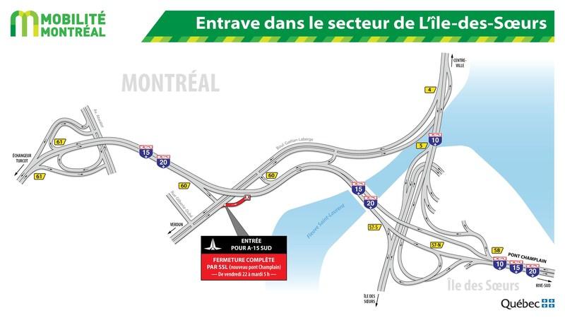 Entrave dans le secteur de L'île-des-Soeurs (Groupe CNW/Ministère des Transports, de la Mobilité durable et de l'Électrification des transports)